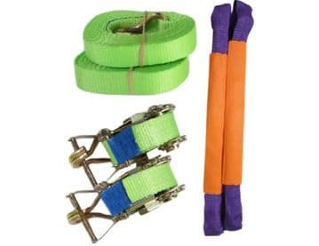 2 x 35mm x 4M HI VIS RATCHET TIE DOWN RECOVERY STRAPS with ROUND SLINGS trailer